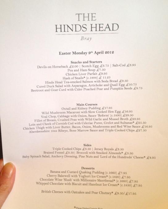 the Hinds Head menu