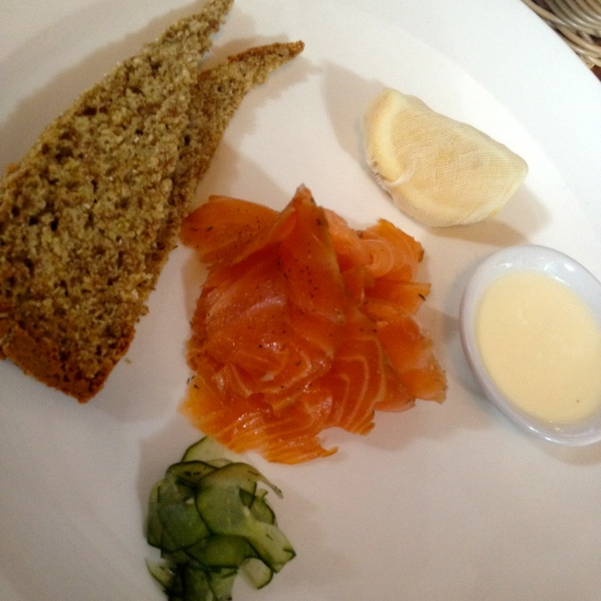 Tea smoked salmon by Heston Blumenthal at Hinds Head