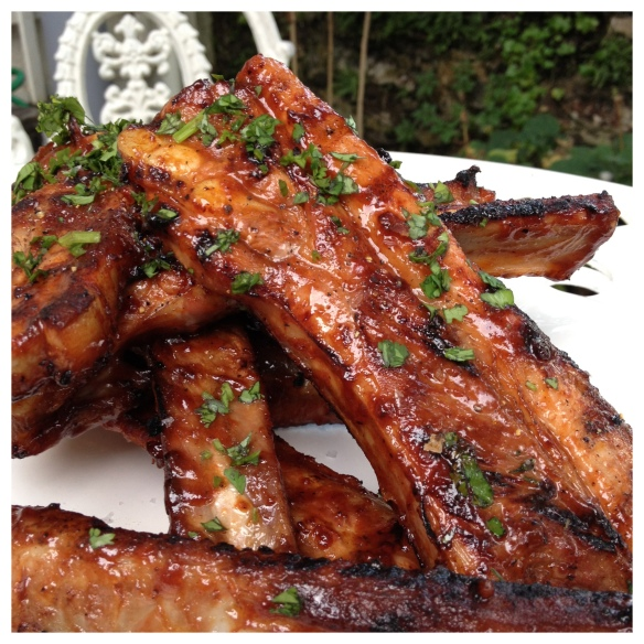 Barbecued ribs in the garden