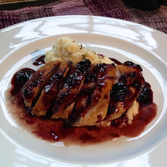 Duck with blackcurrant and cassis sauce