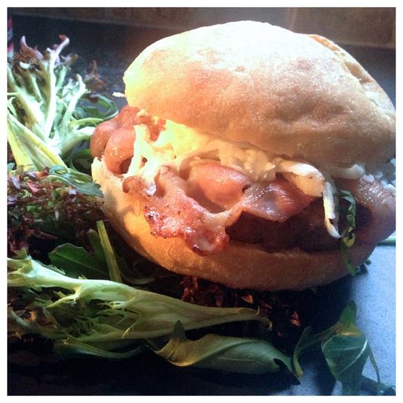 Burger with bacon and celeriac slaw